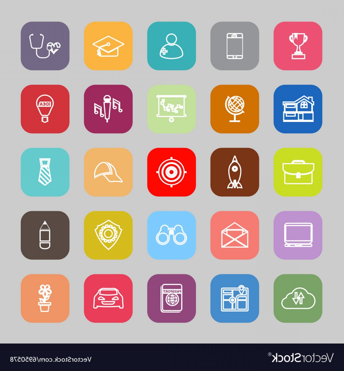 Vectors Job Description: Job Description Line Flat Icons Vector