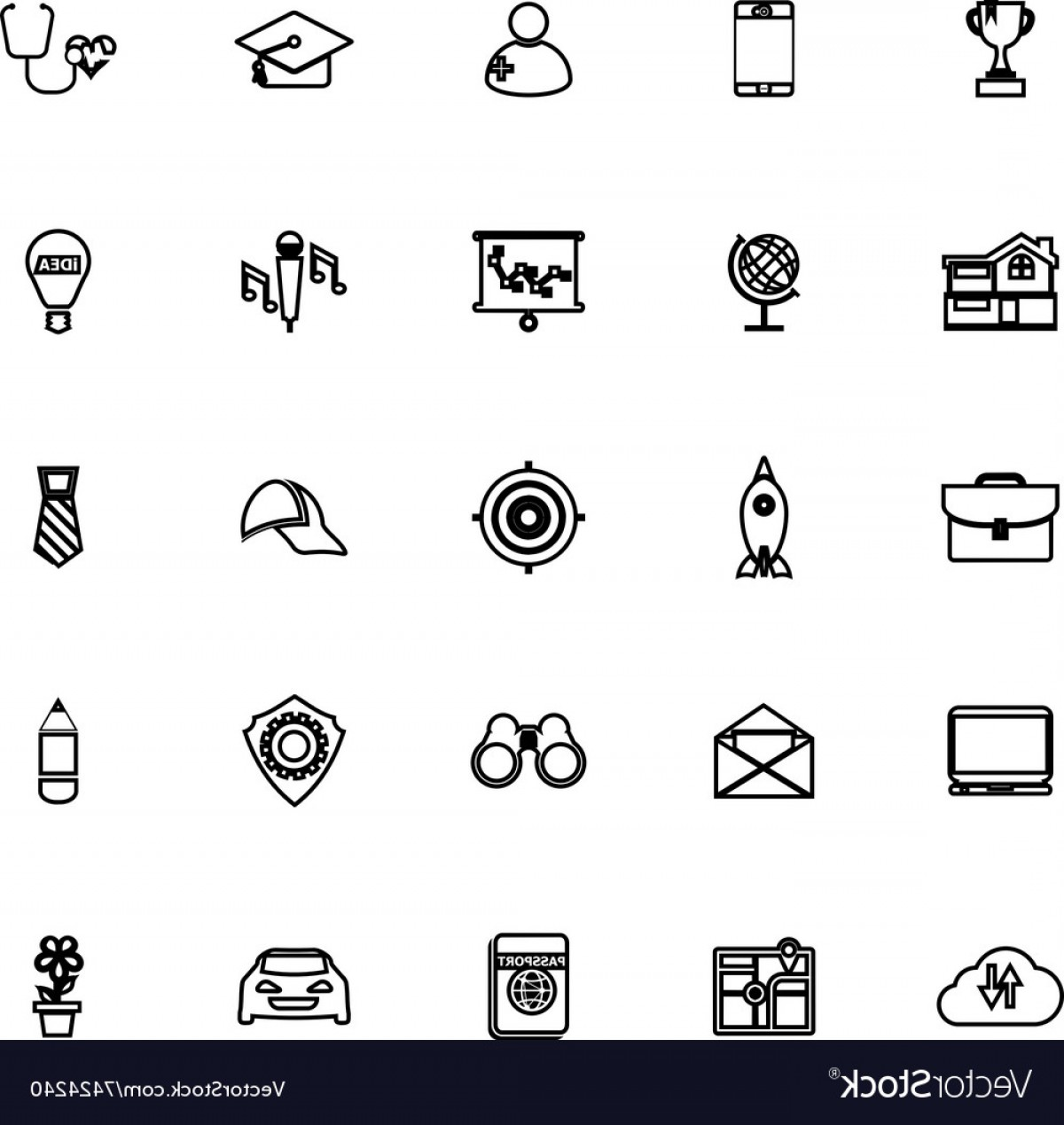 Vectors Job Description: Job Description Line Icons On White Background Vector