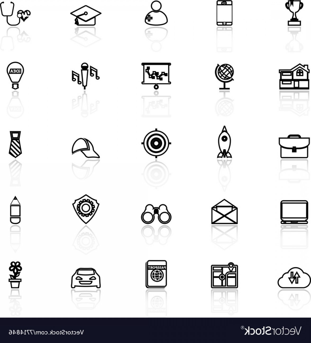 Vectors Job Description: Job Description Line Icons With Reflect On White Vector