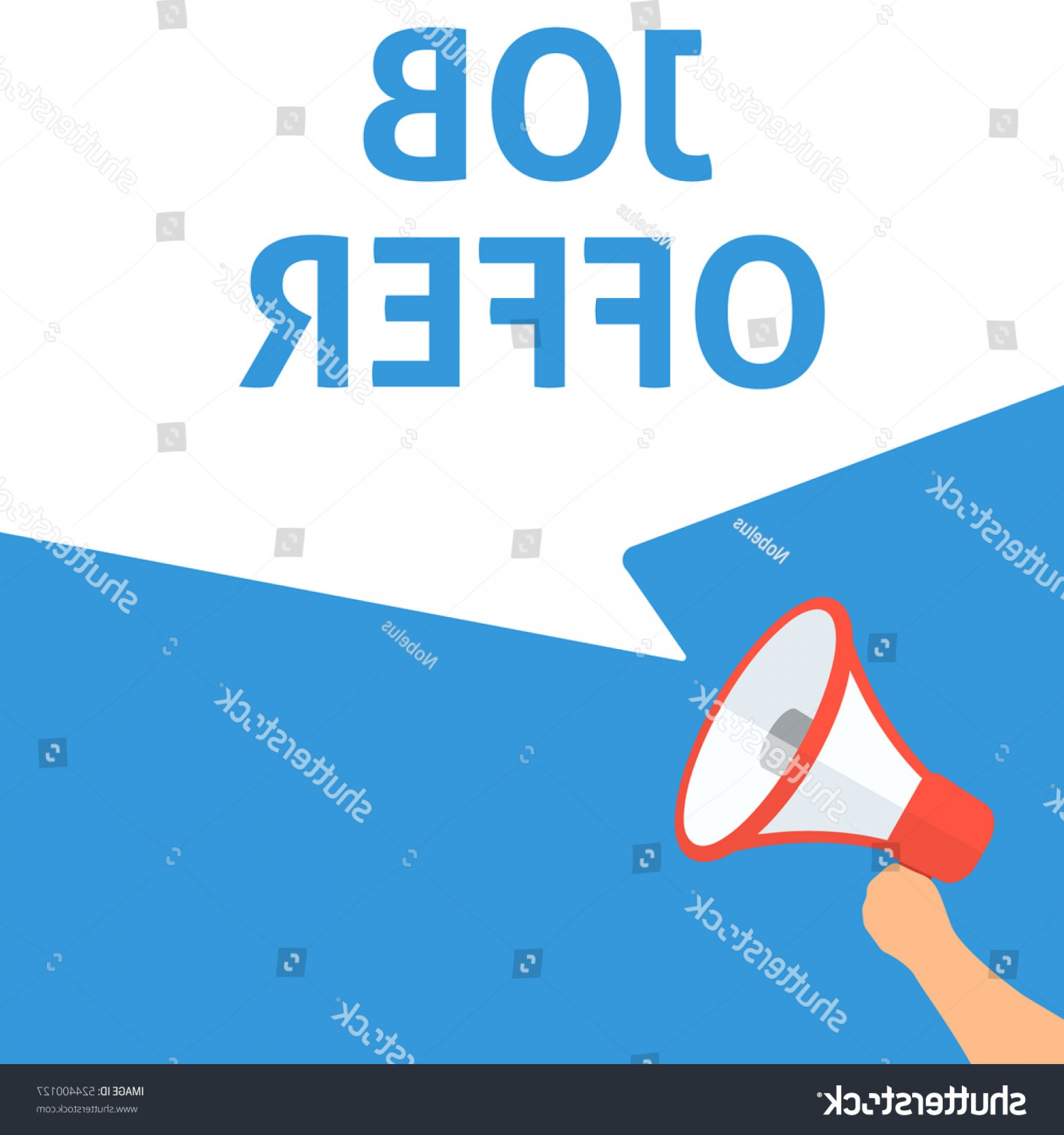 Vector Job Offer: Job Offer Announcement Hand Holding Megaphone