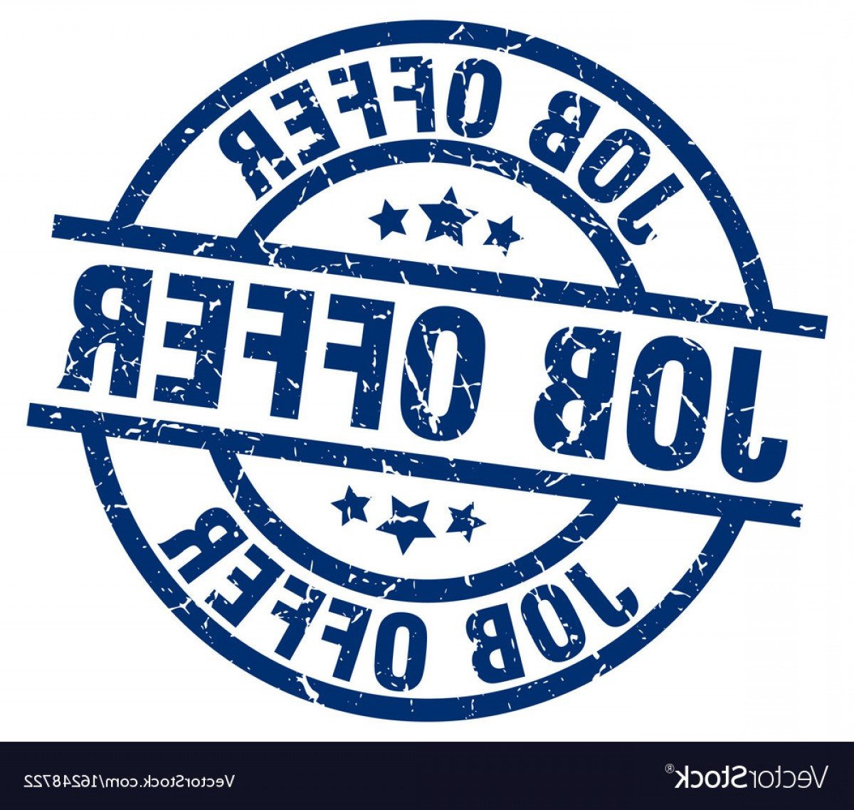 Vector Job Offer: Job Offer Blue Round Grunge Stamp Vector