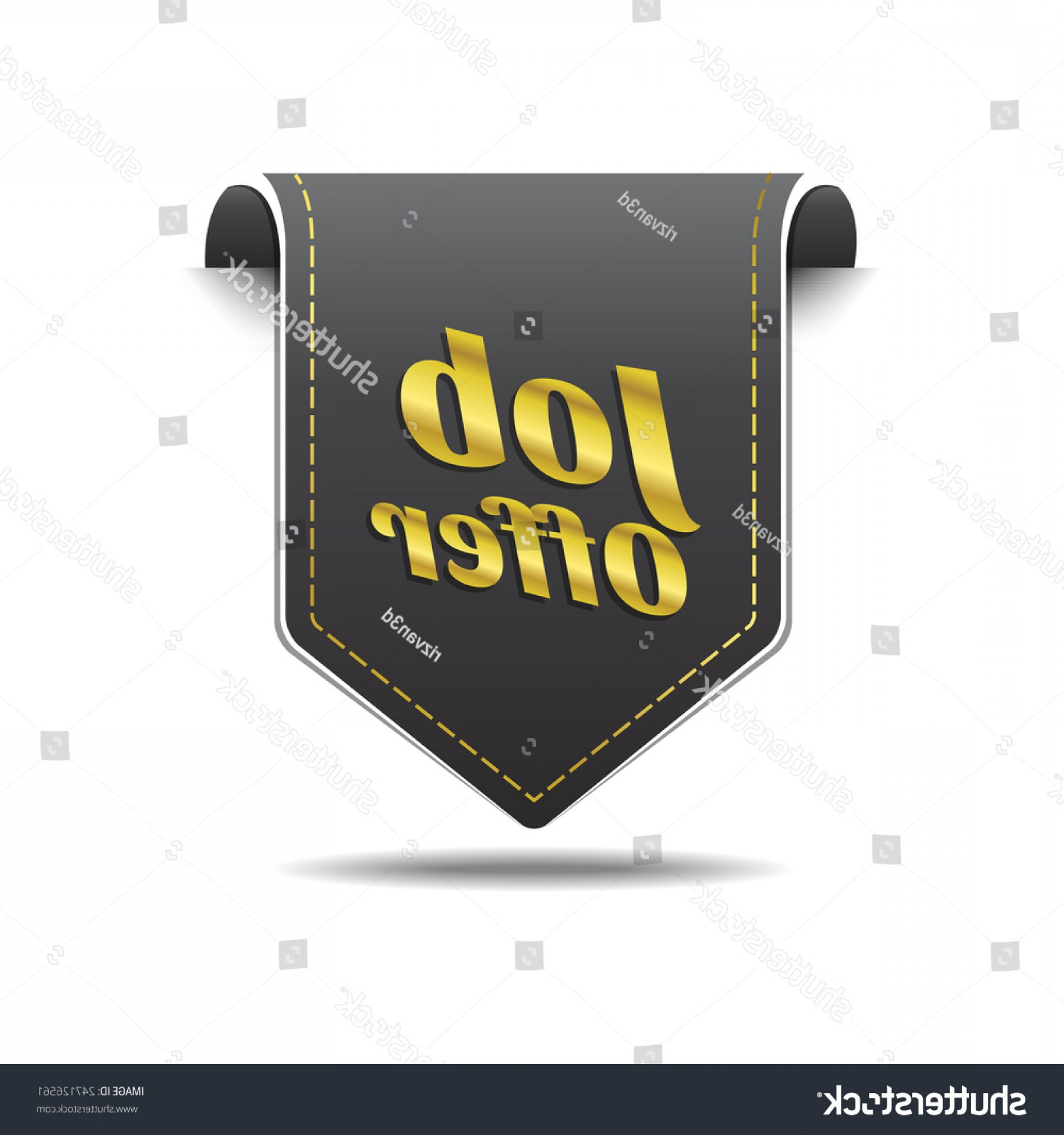 Vector Job Offer: Job Offer Golden Vector Icon Design