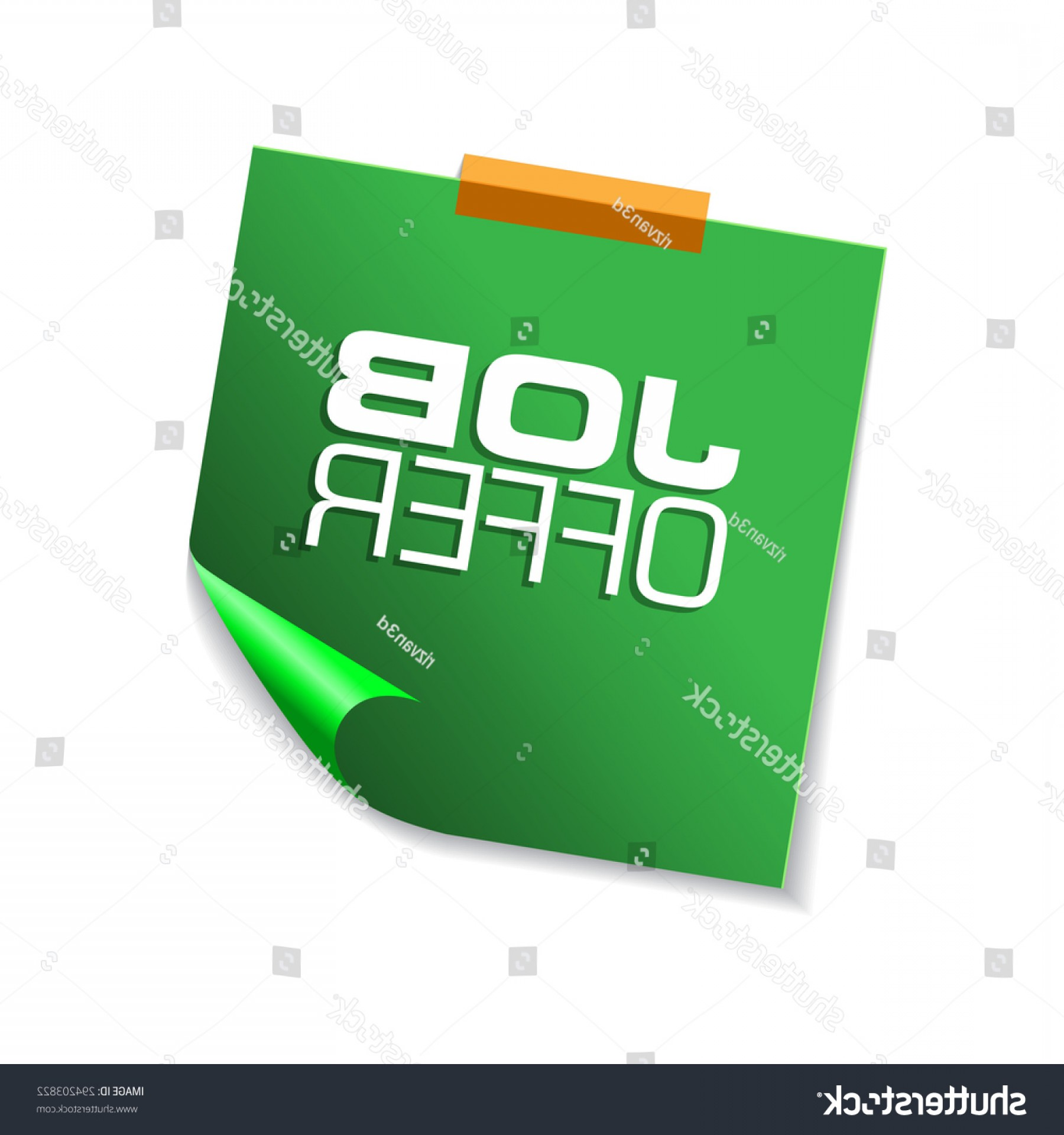 Vector Job Offer: Job Offer Green Sticky Notes Vector
