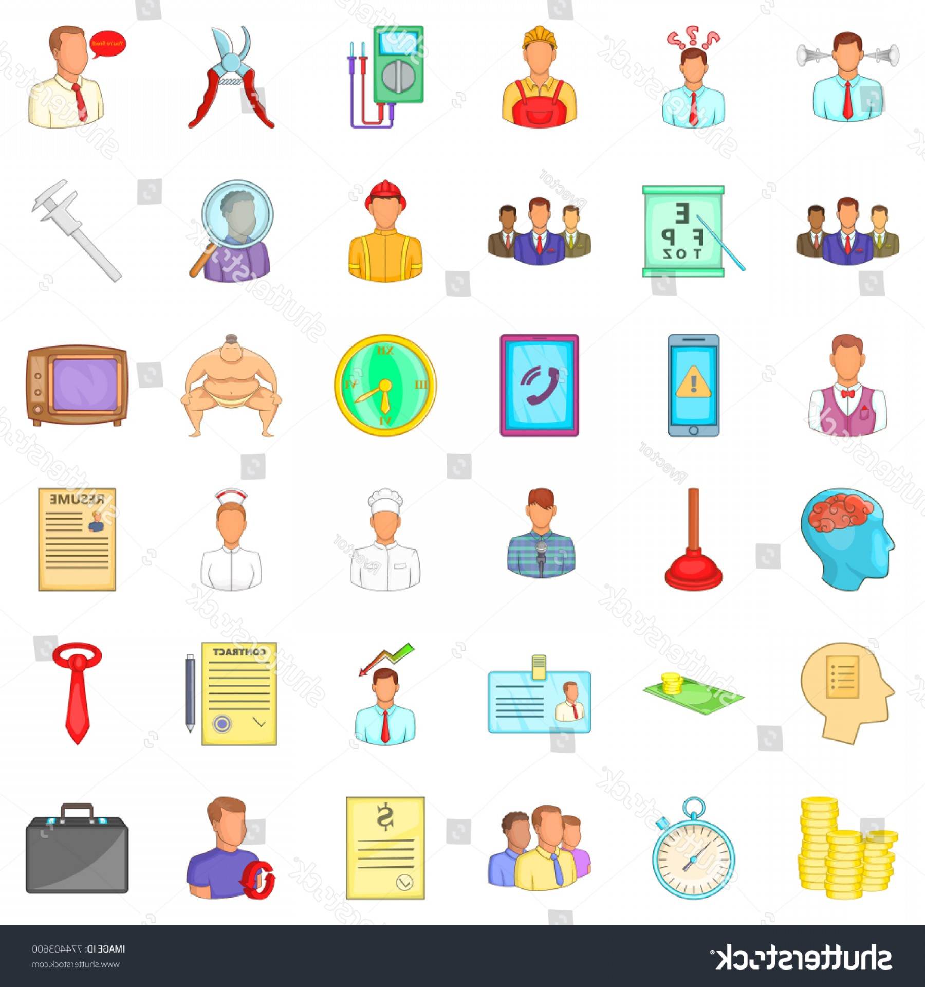 Vector Job Offer: Job Offer Icons Set Cartoon Style