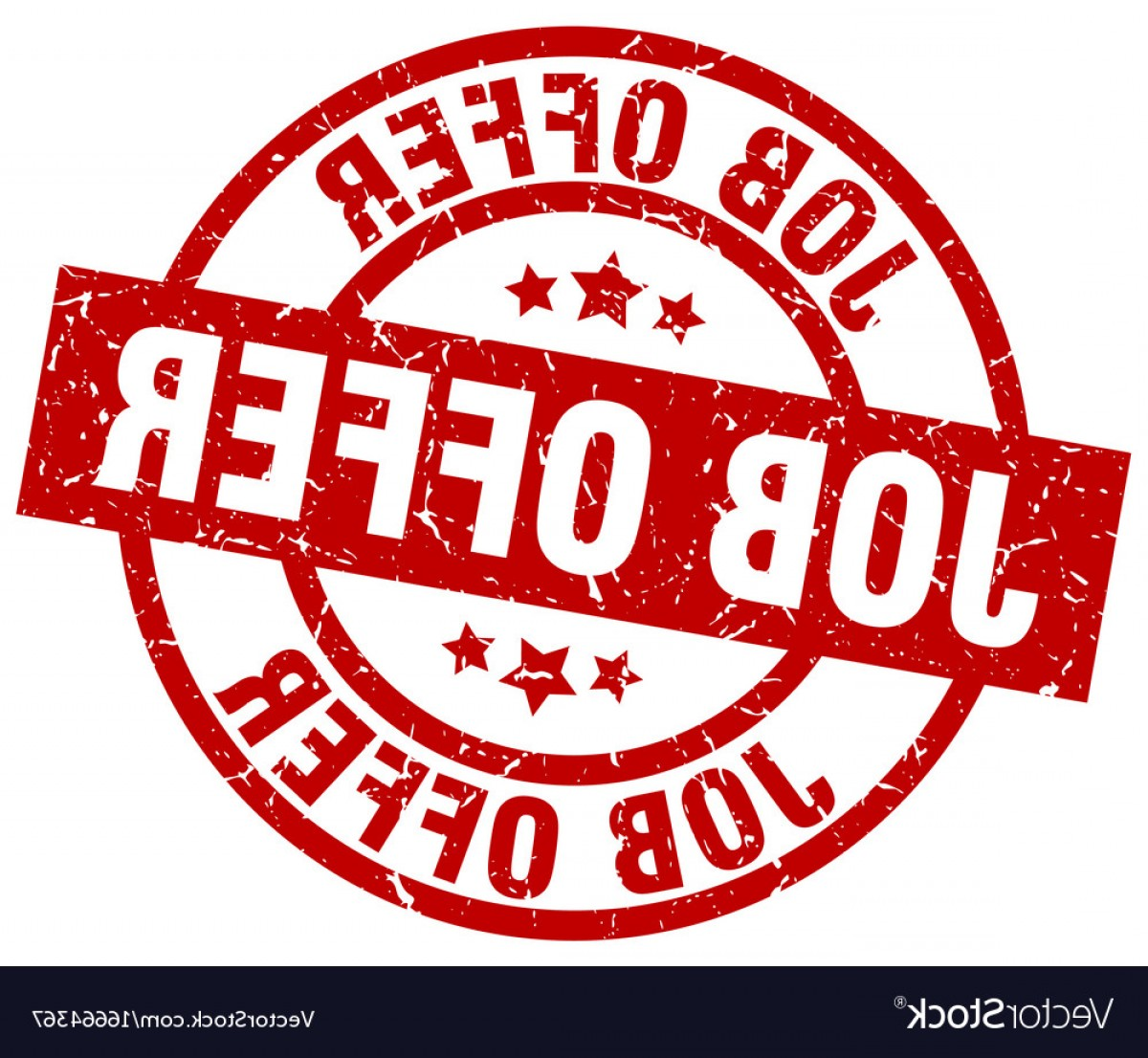 Vector Job Offer: Job Offer Round Red Grunge Stamp Vector