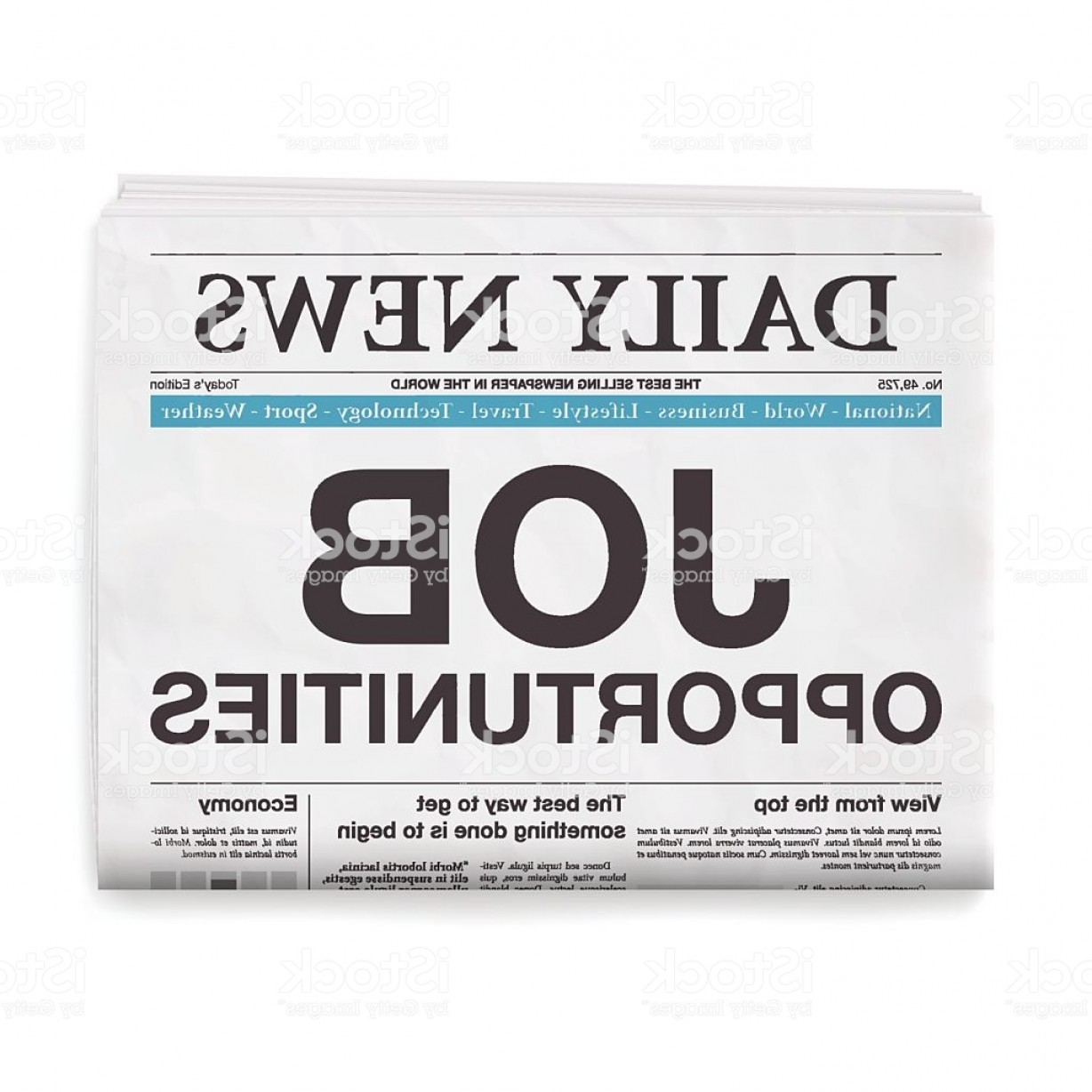 Vector Job Opportunities: Job Opportunities Headline Newspaper Isolated On White Background Gm