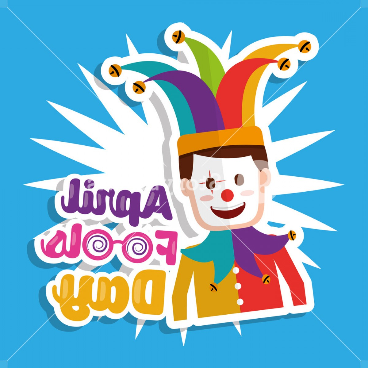 Joker Vector Graphics: Joker With Mask Funny April Fools Day Vector Illustration Hxgxgqkemjegppq