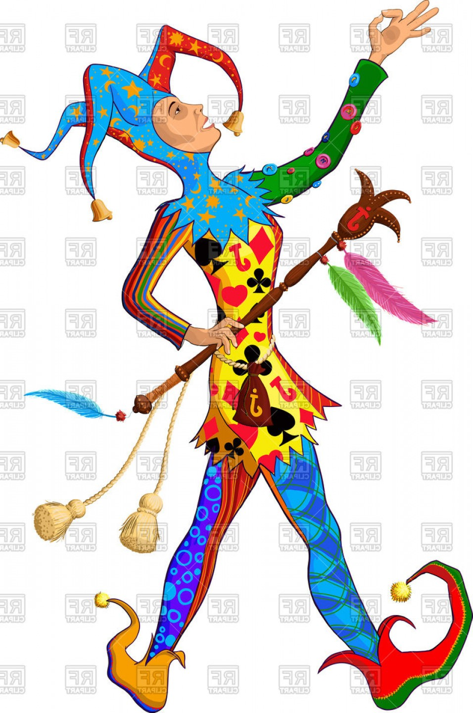 Joker Vector Graphics: Jolly Joker Jester In Colorful Singing Silly Clothes On White Background Vector Clipart
