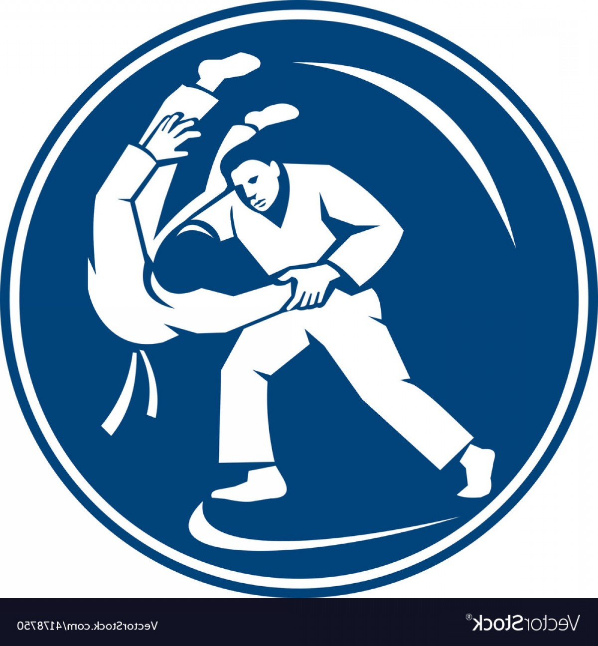 Judo Throw Vector Graphics: Judo Combatants Throw Circle Icon Vector