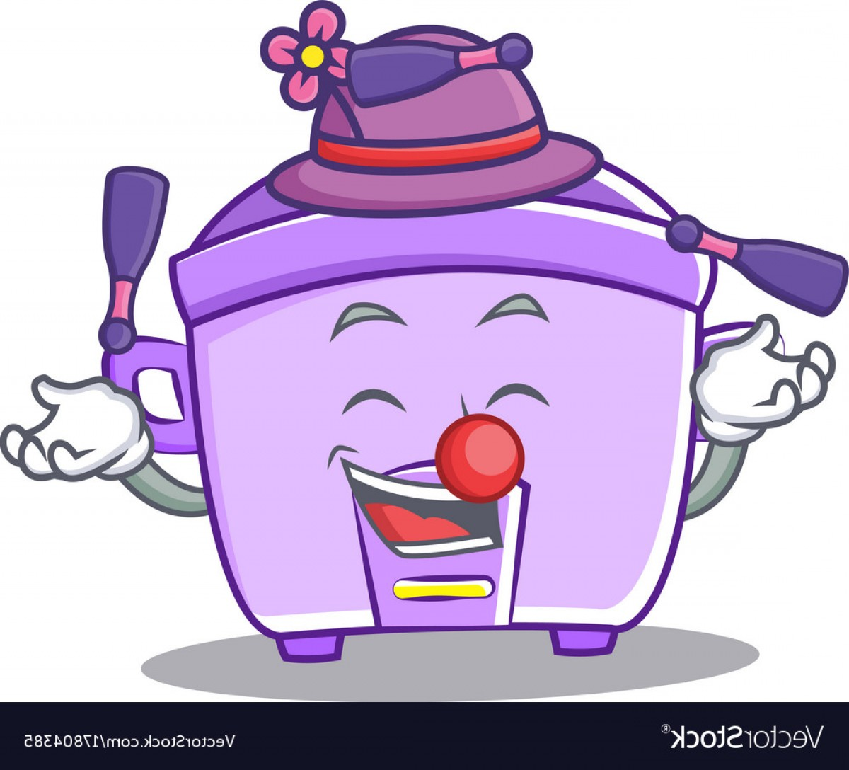 Nurse Juggling Vector: Juggling Rice Cooker Character Cartoon Vector