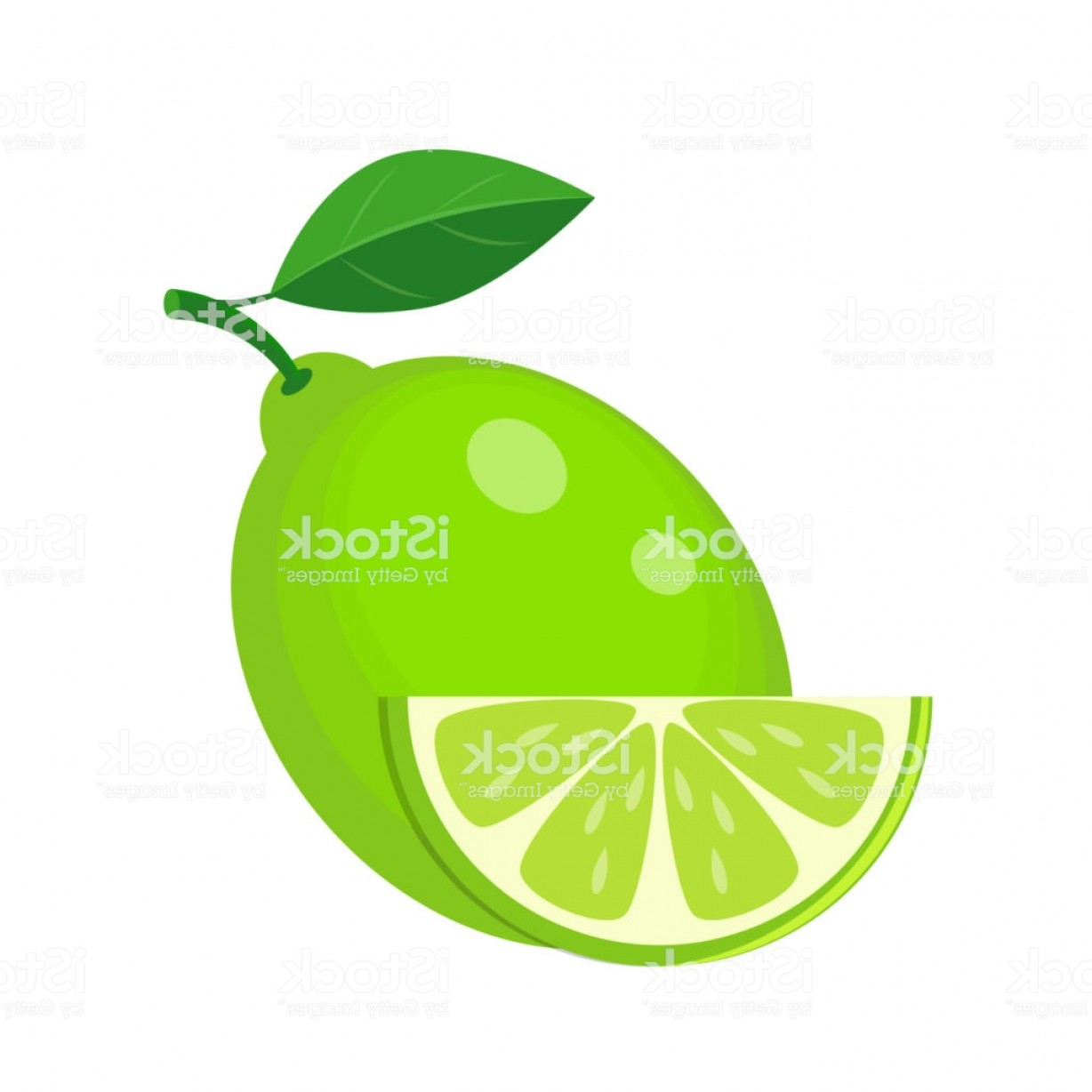 Lime Wedge Vector Art: Juicy Lime With Green Leaf And Lime Slice Vector Illustration Is Gm