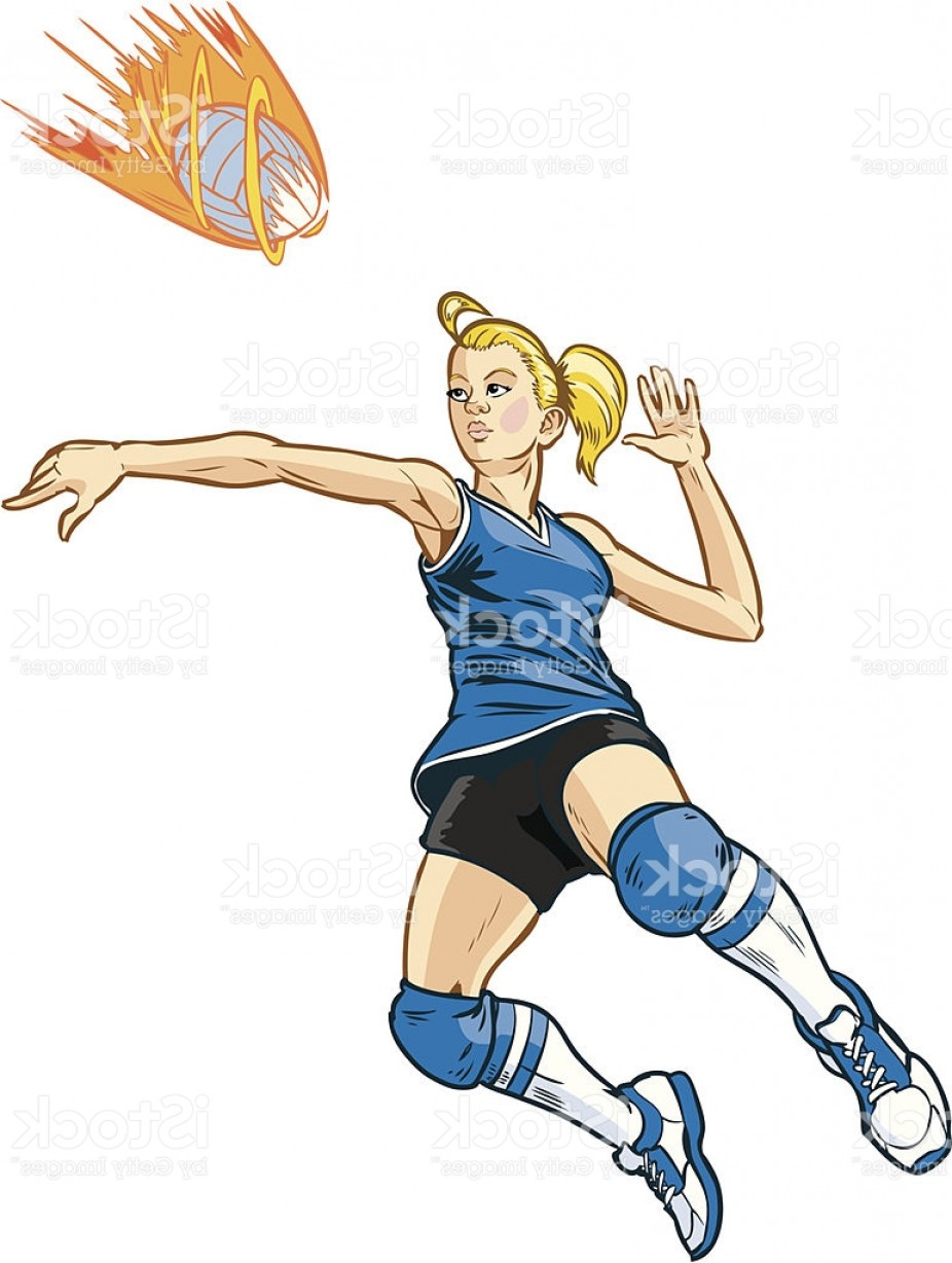 Volleyball Player Vector: Jumping Volleyball Player Girl Vector Illustration Gm