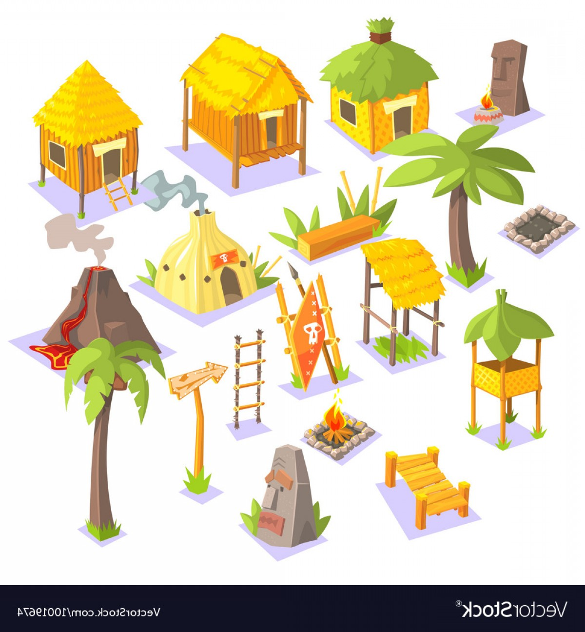 Ancient Jungle Statue Vector Images: Jungle Tribal Living Houses And Other Objects Vector