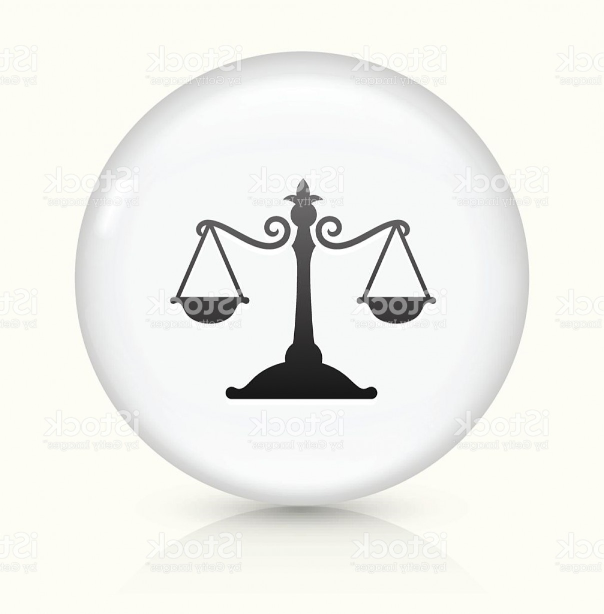 Balance Symbol Vector: Justice Balance Icon On White Round Vector Button Gm