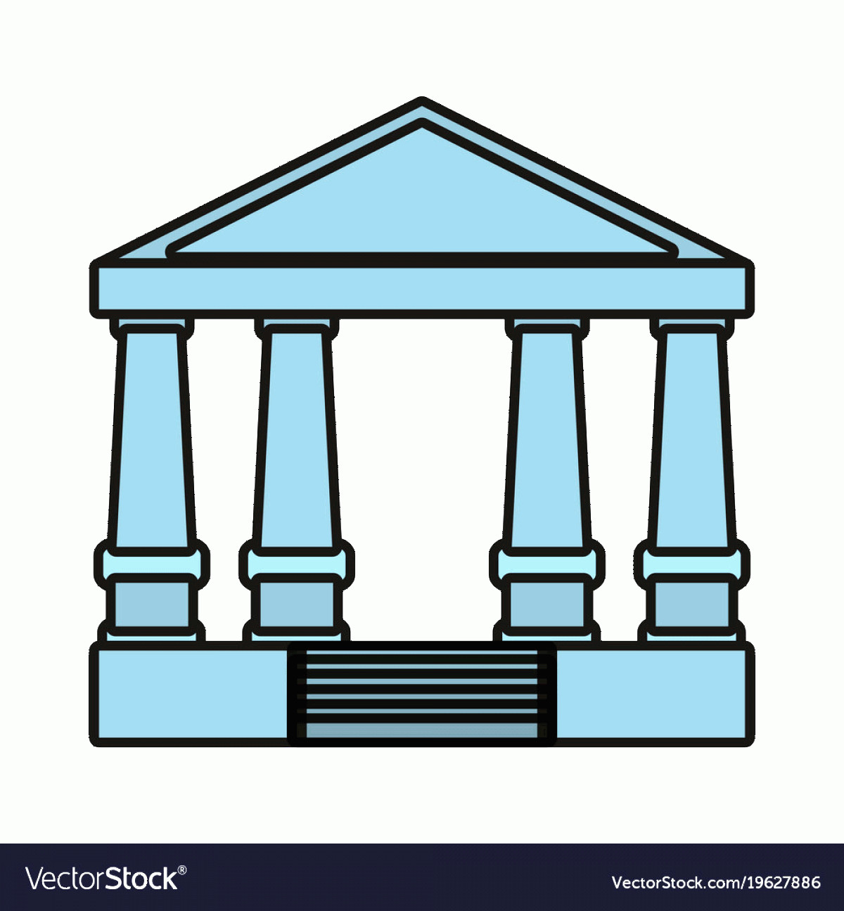 Court Building Vector: Justice Court Building Icon Vector
