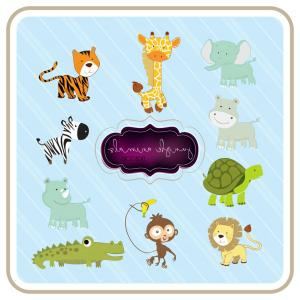 Jungle Animals Clip Art Vector: Jungle Animals Clipart Set Of Cute