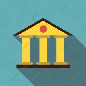 Court Building Vector: Justice Court Building Icon Flat Style