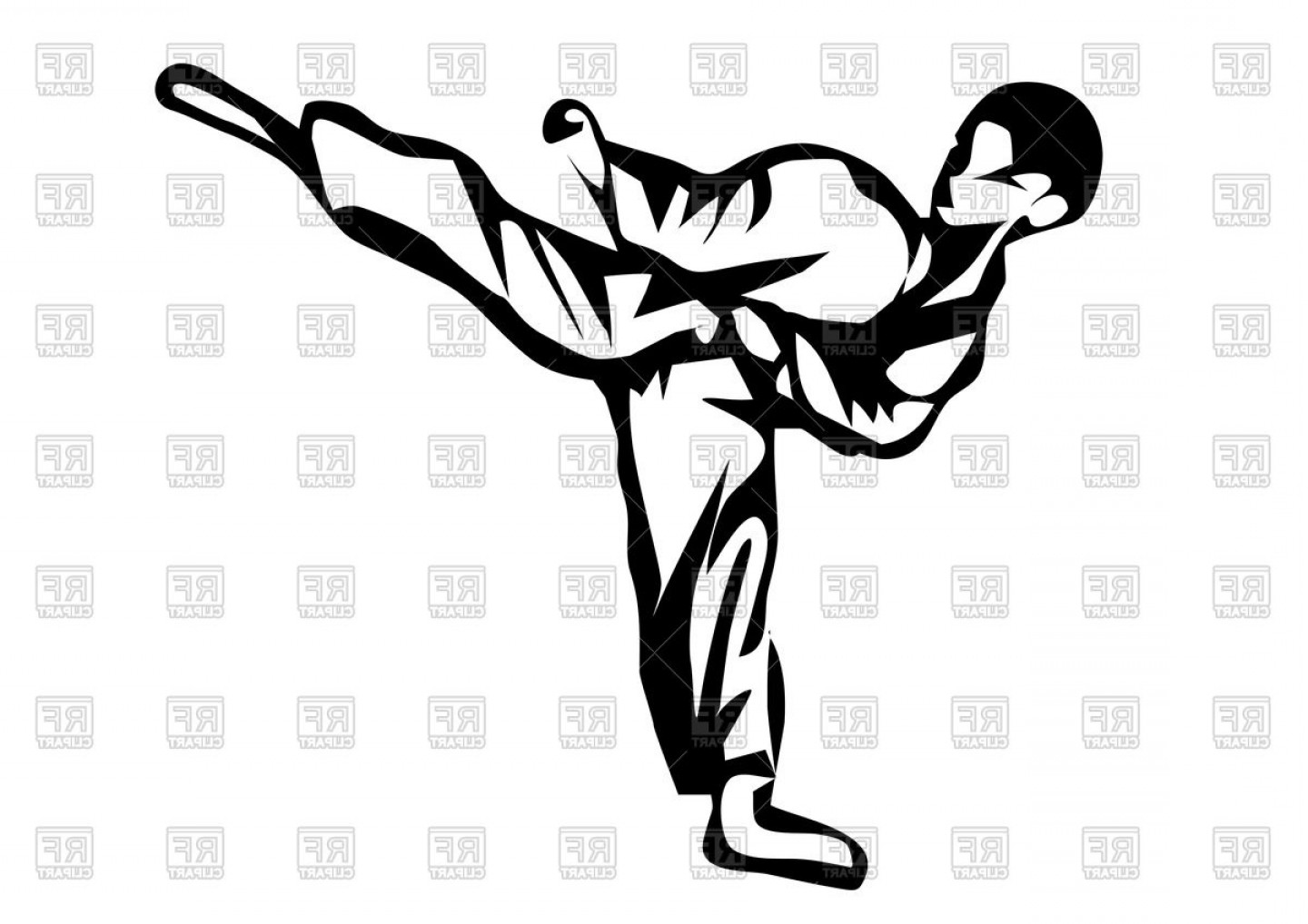 Karate Vector: Karate Karateka In Kimono Outline Vector Clipart