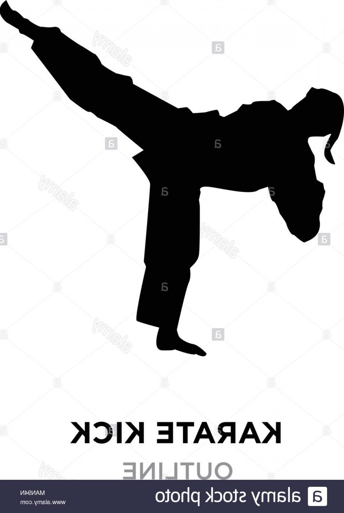 Karate Vector: Karate Kick Silhouette On White Background Vector Illustration Image