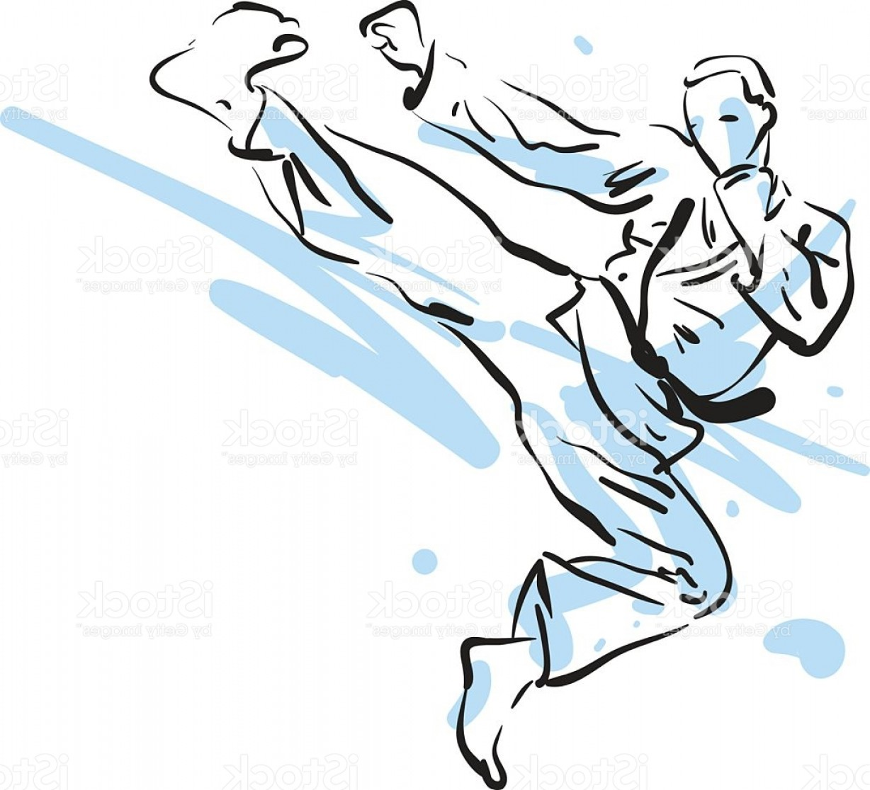 Karate Vector: Karate Kick Vector Illustration Gm