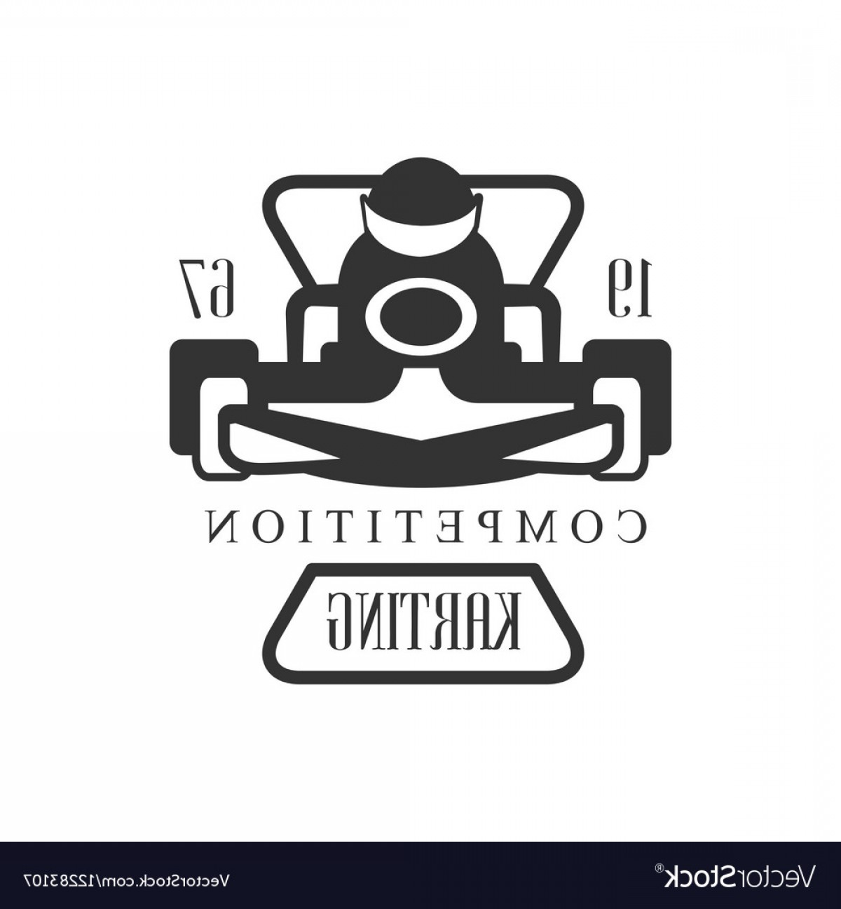 Black And White Vector Racing Graphics: Karting Club Racing Competition Black And White Vector