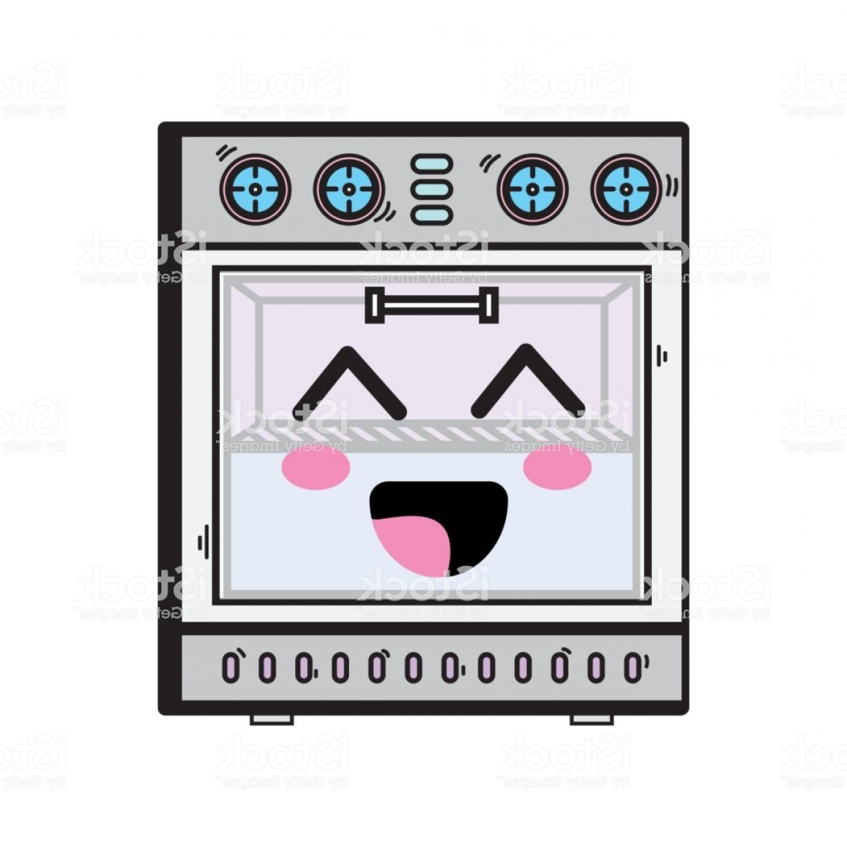 Happy Oven Vector: Kawaii Cute Happy Oven Technology Gm