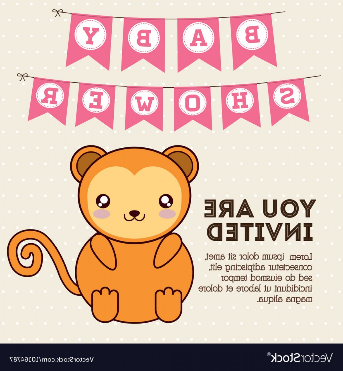 Sitting Monkey Vector Baby Shower: Kawaii Monkey Baby Shower Design Graphic Vector