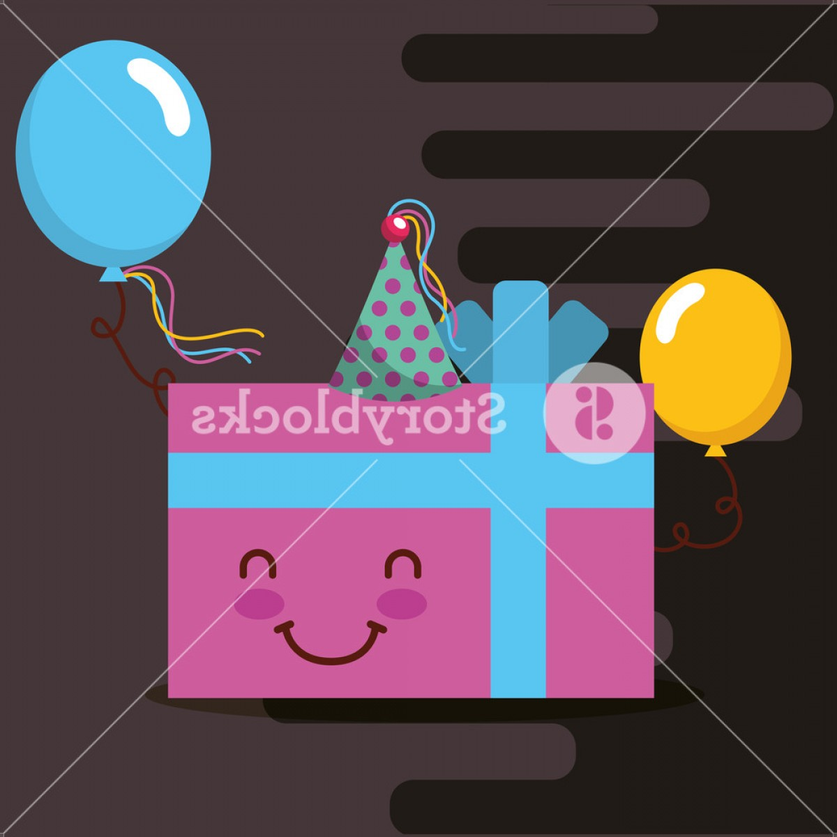 Teal Birthday Hat Vector: Kawaii Pink Gift Box Party Hat And Balloons Happy Birthday Card Vector Illustration Redjgbqjigql