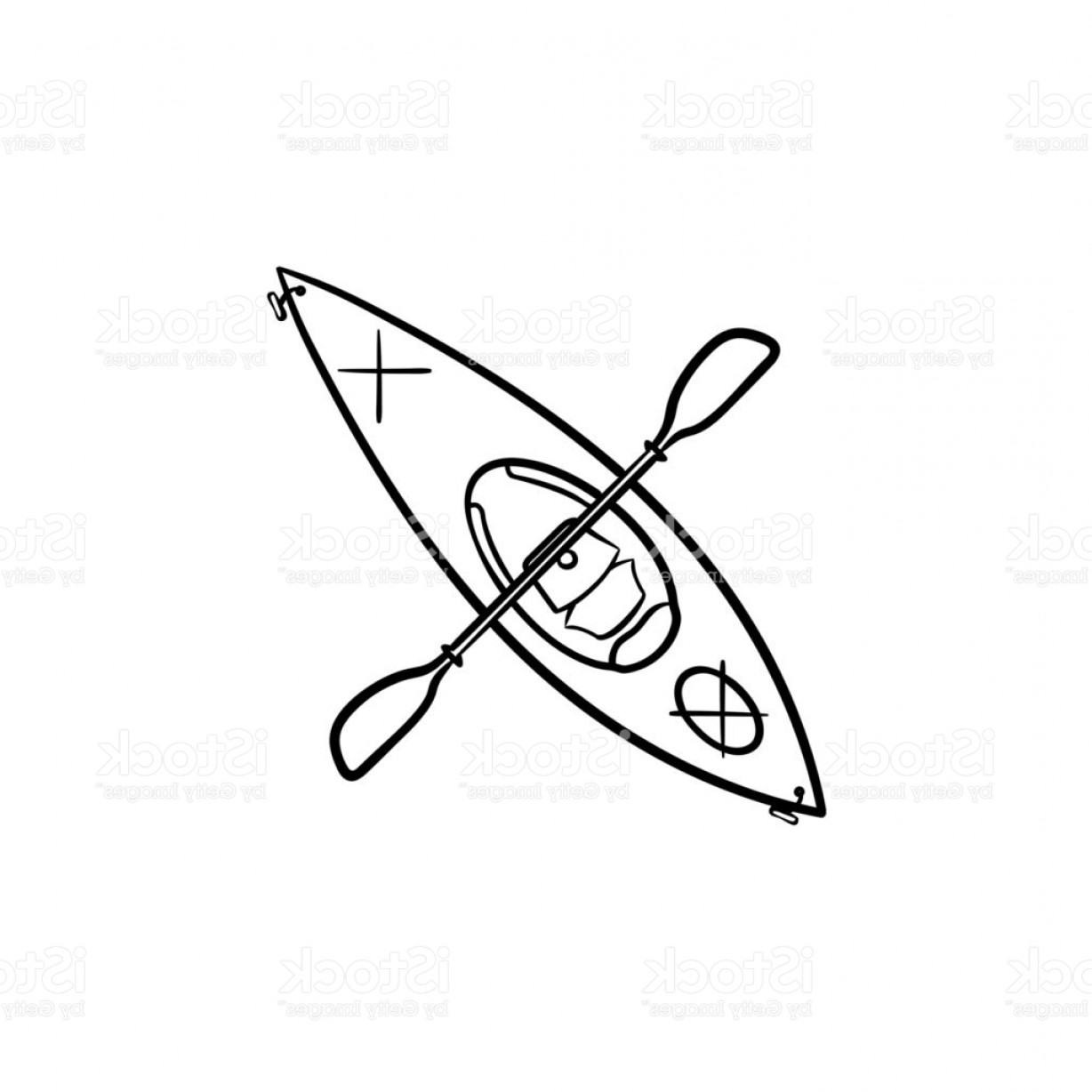 Paddle Vector Art: Kayak With Paddle Hand Drawn Sketch Icon Gm