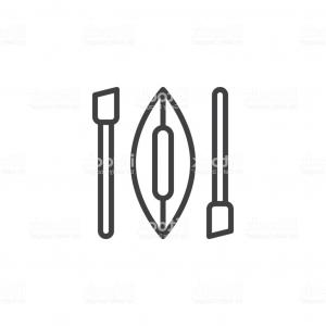 Oar Vector Graphics: Kayak And Oars Outline Icon Gm