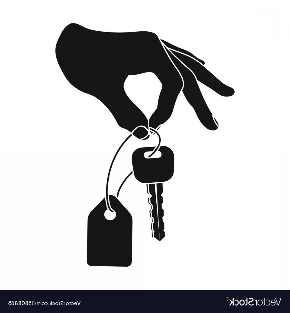 Hand With Ring Silhouette Vector: Key With A Key Ring In His Hand E Commerce Single Vector