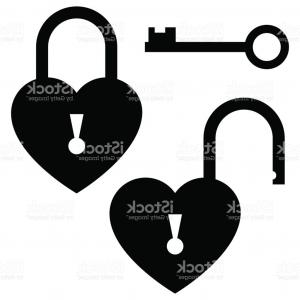 Heart Lock Vector: Traditional Heart Shaped Padlock For Love Lock Unity Ceremony Gm