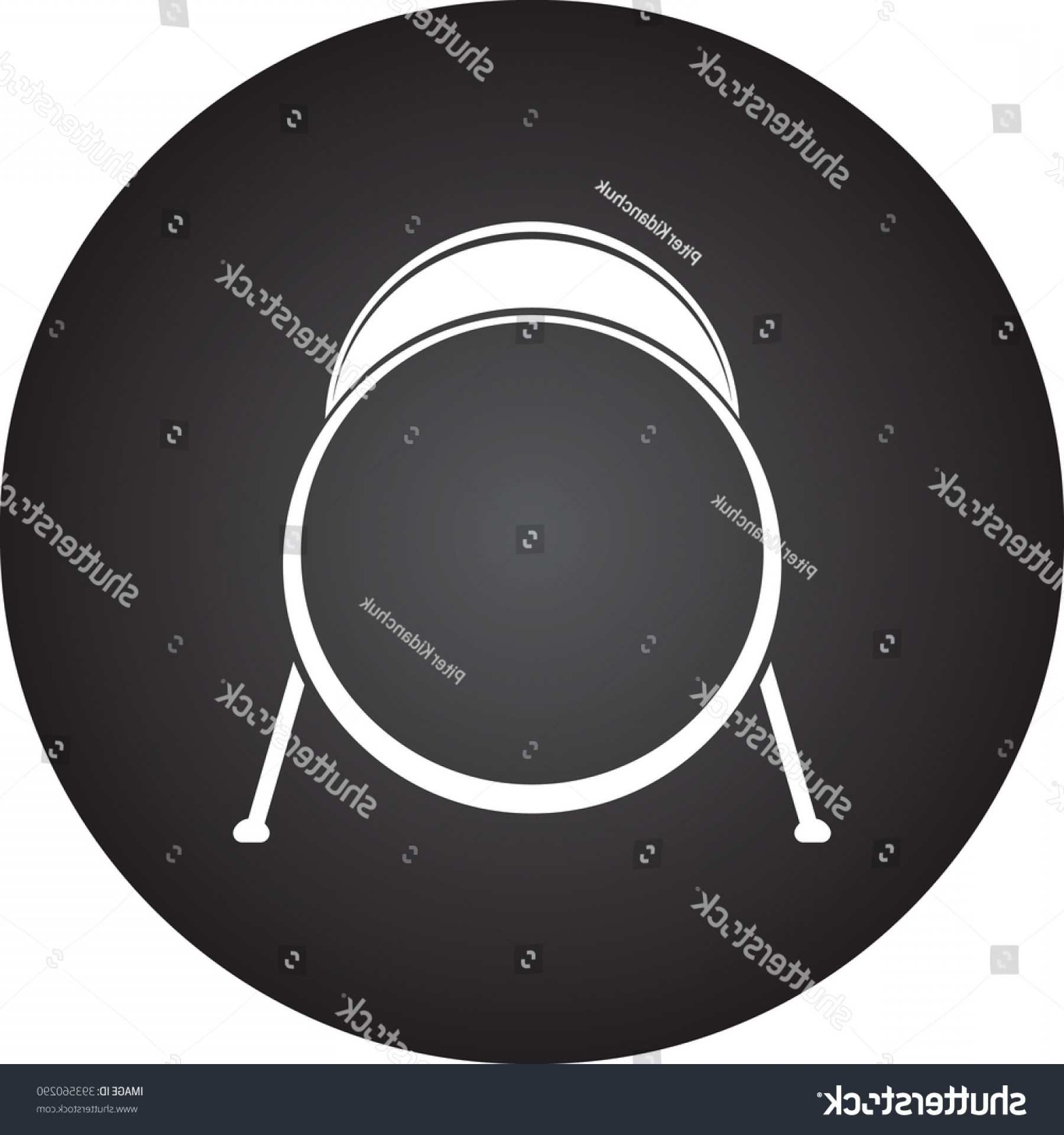 Kick Drum Vector: Kick Drum Simple Icon On Round