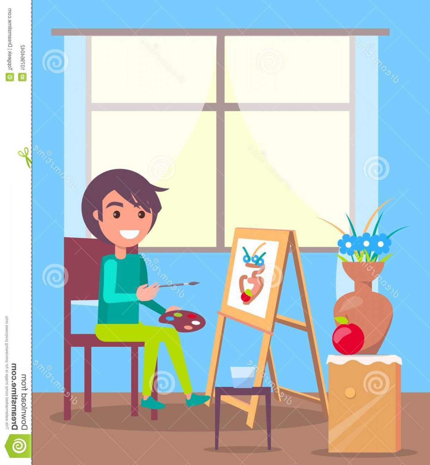 Clay Window Vector: Kid Sits Room Paint Still Life Picture Large Window Paints Flowers Clay Vase Paper Attached To Wooden Easel Vector Image