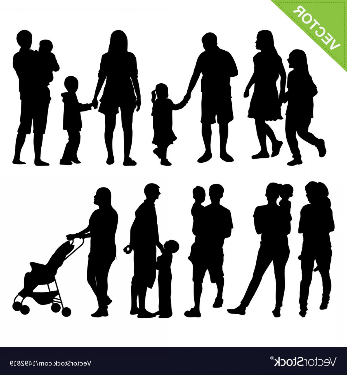 Family Silhouette Vector Art: Kids And Family Silhouette Vector