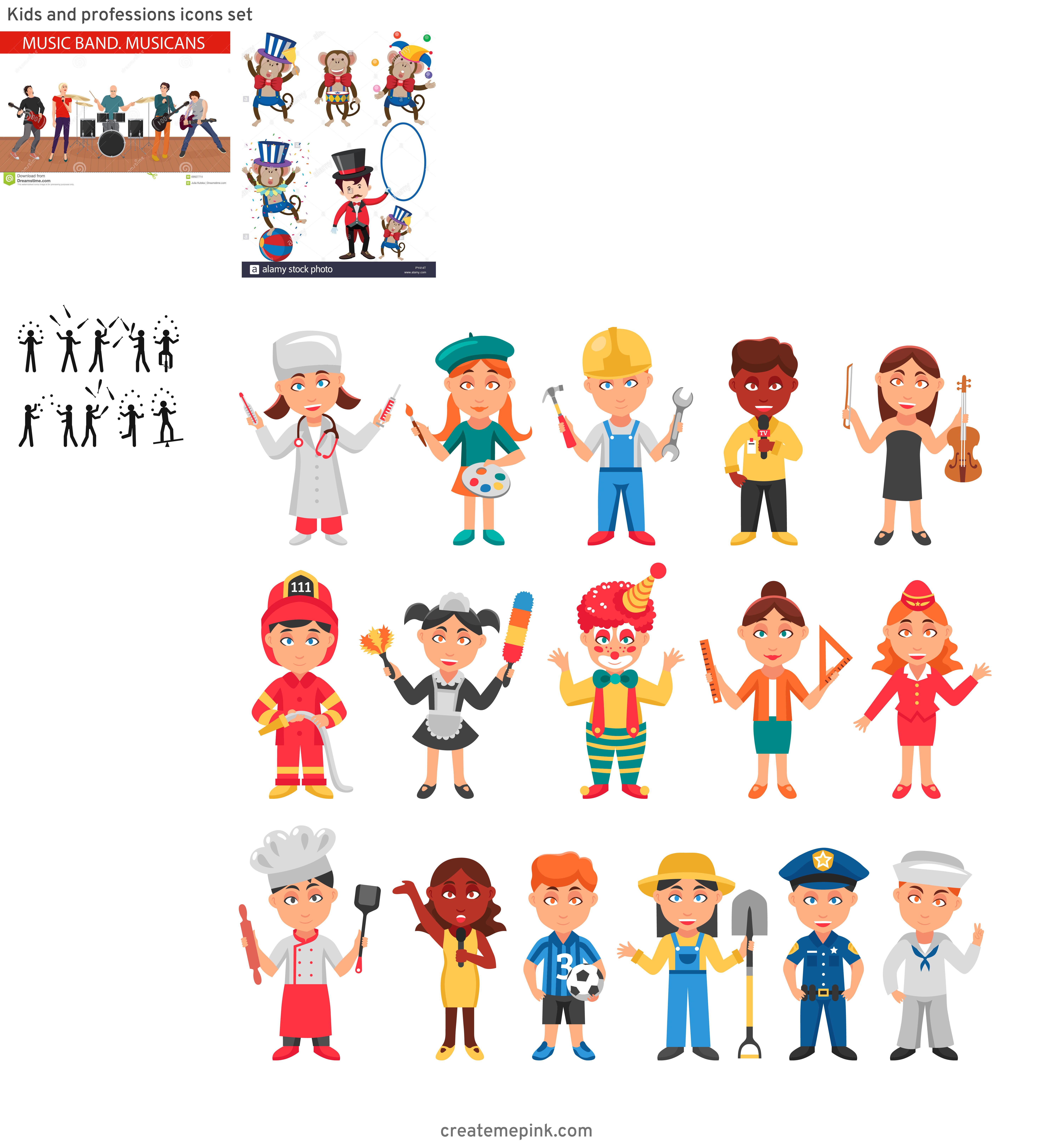 Vector Group Performers: Kids And Professions Icons Set