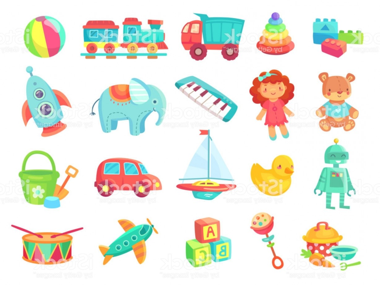 Nautical Vector Art Baby Rattle: Kids Cartoon Toys Baby Doll Train On Railway Ball Cars Boat Boys And Girls Fun Gm