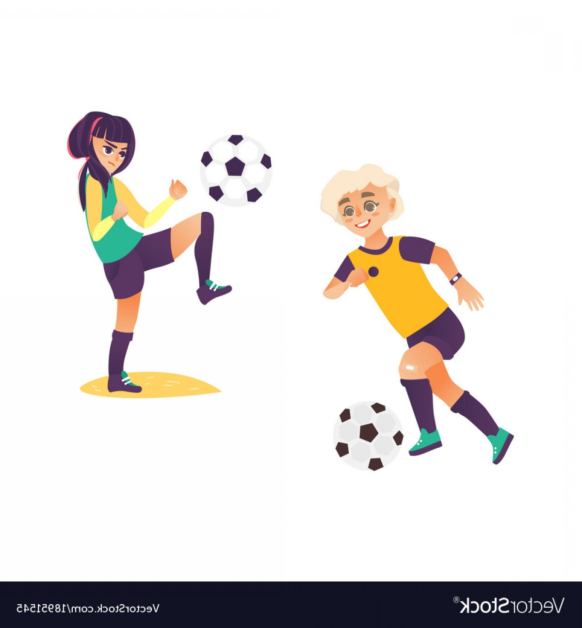 Vector Football Girl: Kids Children Boy And Girl Playing Football Vector