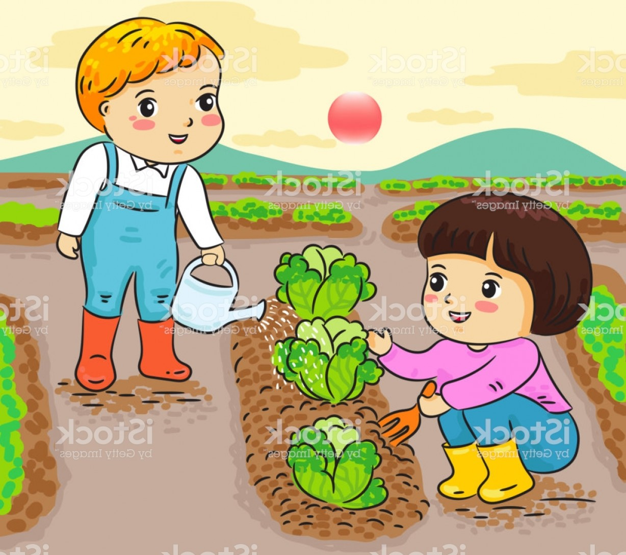 Farm Vector Illustration: Kids Gardening Working In Farm Vector Illustration Gm