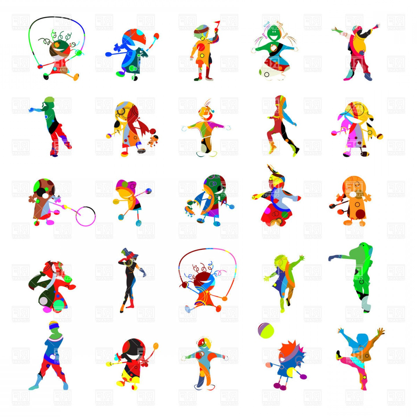 Vector Clip Art Collections: Kids Kids Kids Collection Of Stylish People Silhouettes Vector Clipart
