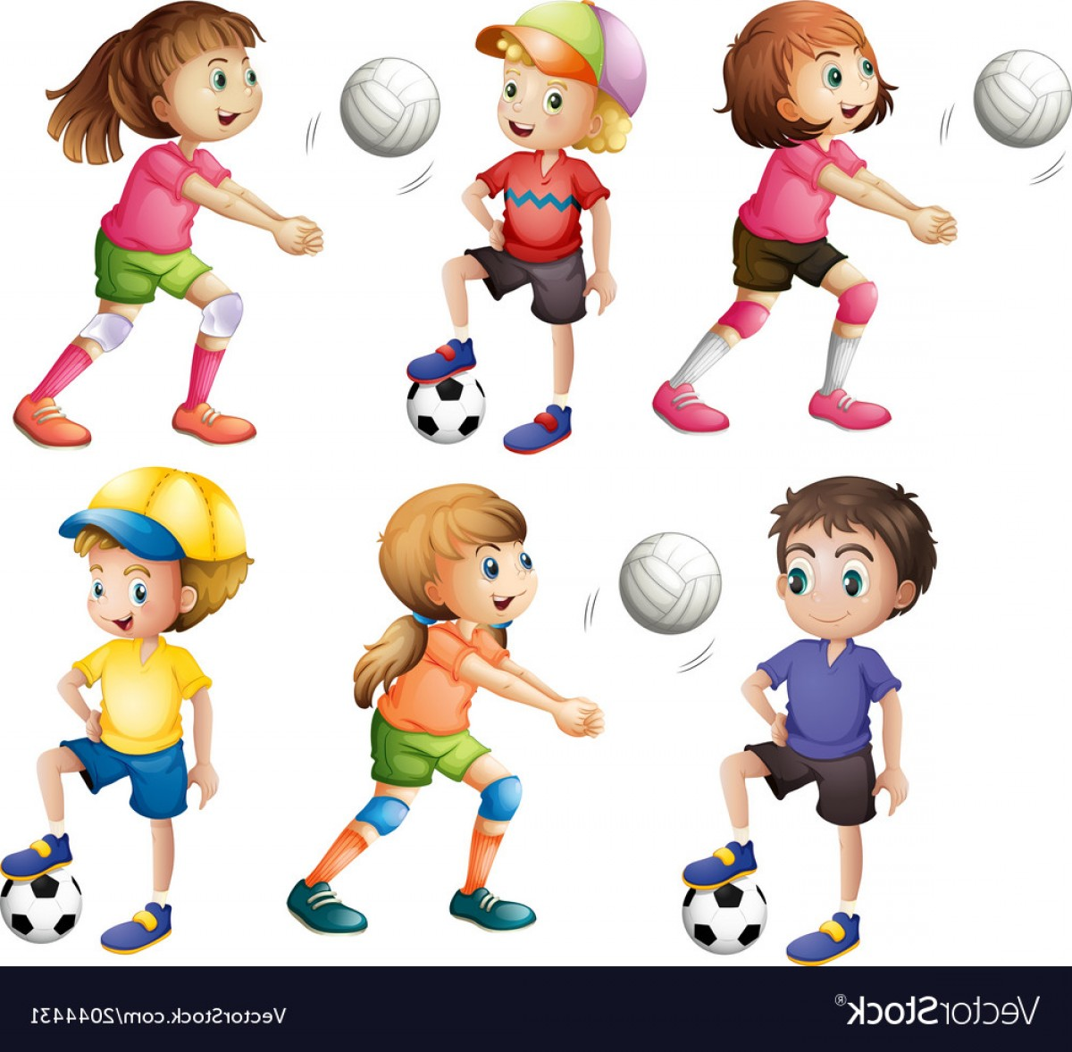 Volleyball Vector Dog Lady: Kids Playing Volleyball And Football Vector