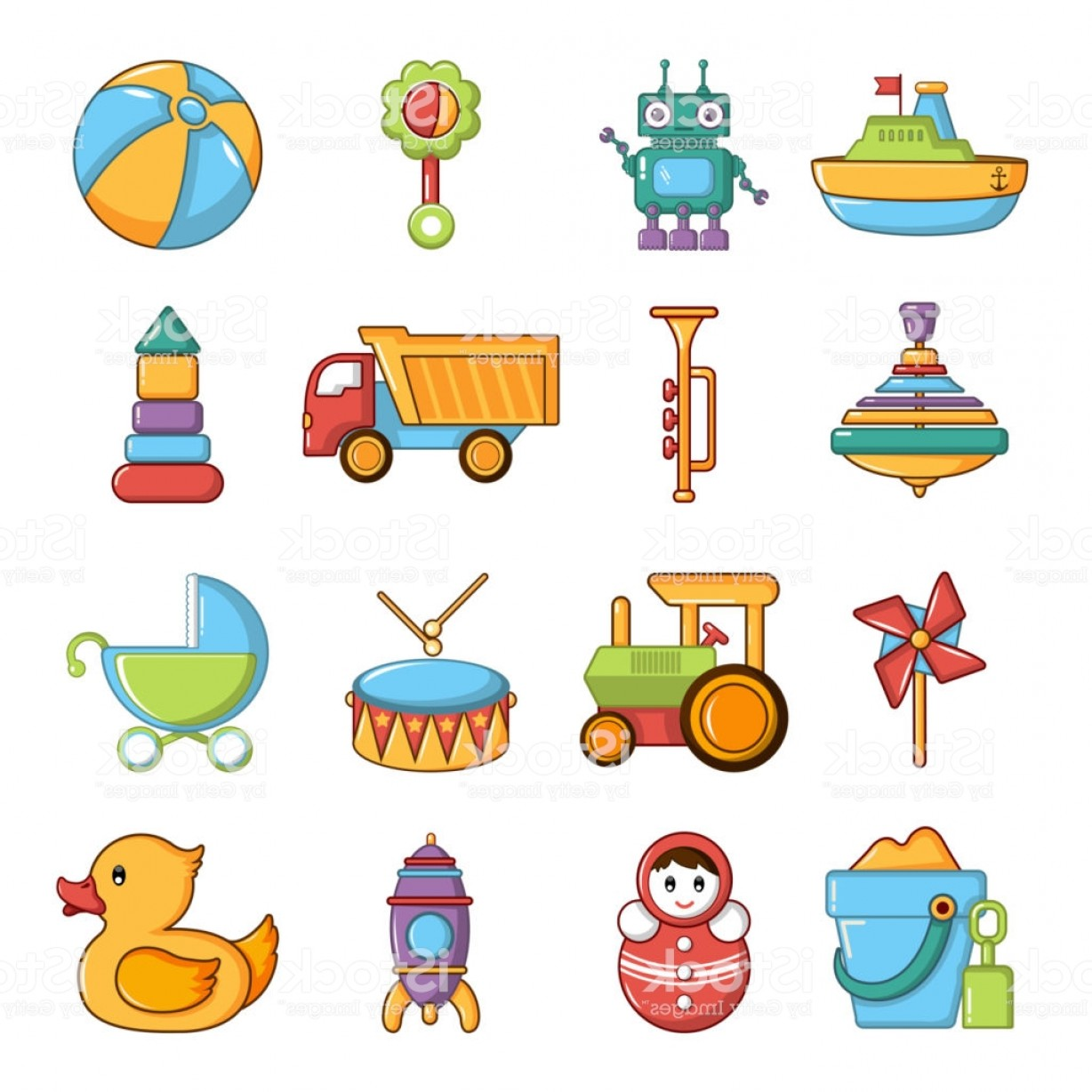 Nautical Vector Art Baby Rattle: Kids Toys Icons Set Cartoon Style Gm