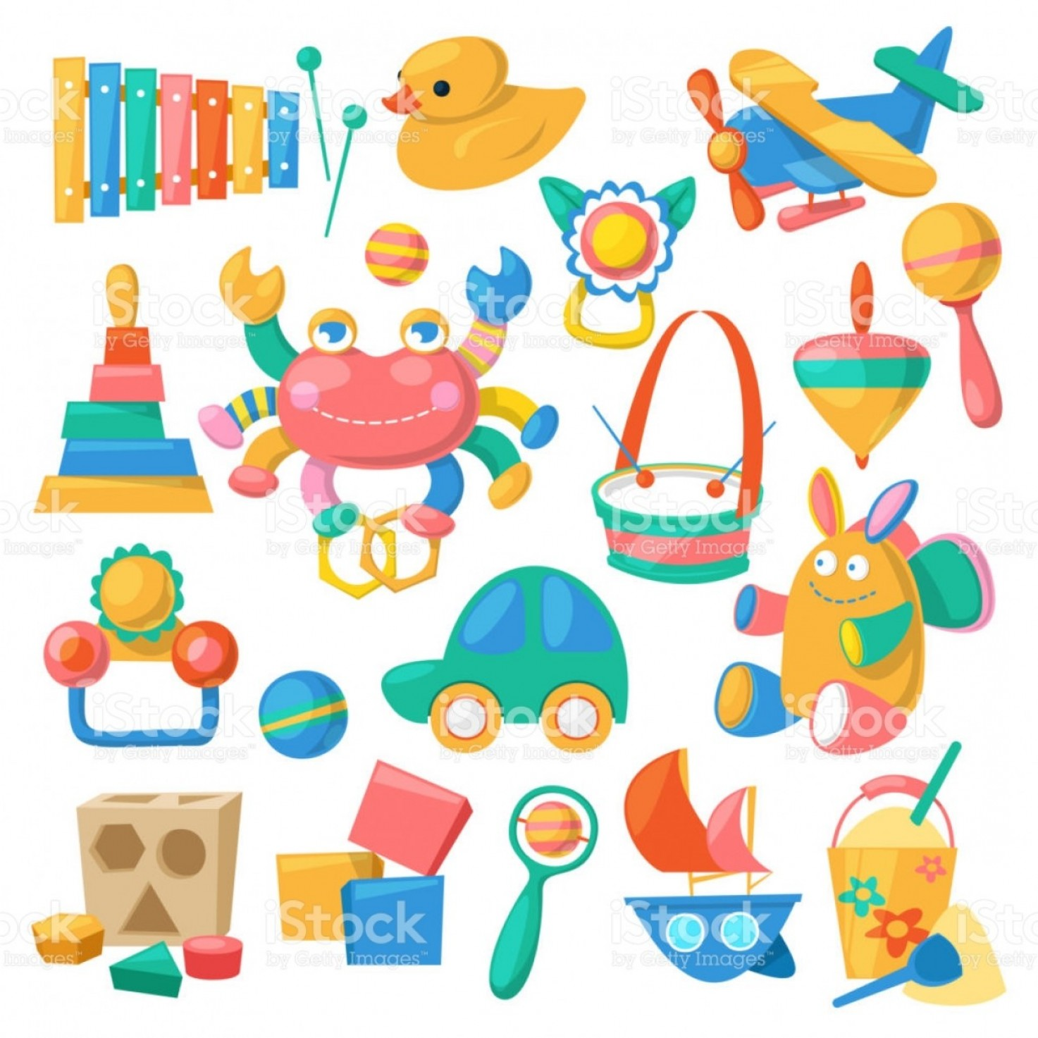 Baby Toy Vector: Kids Toys Vector Cartoon Games For Children In Playroom And Playing With Duck Car Or Gm