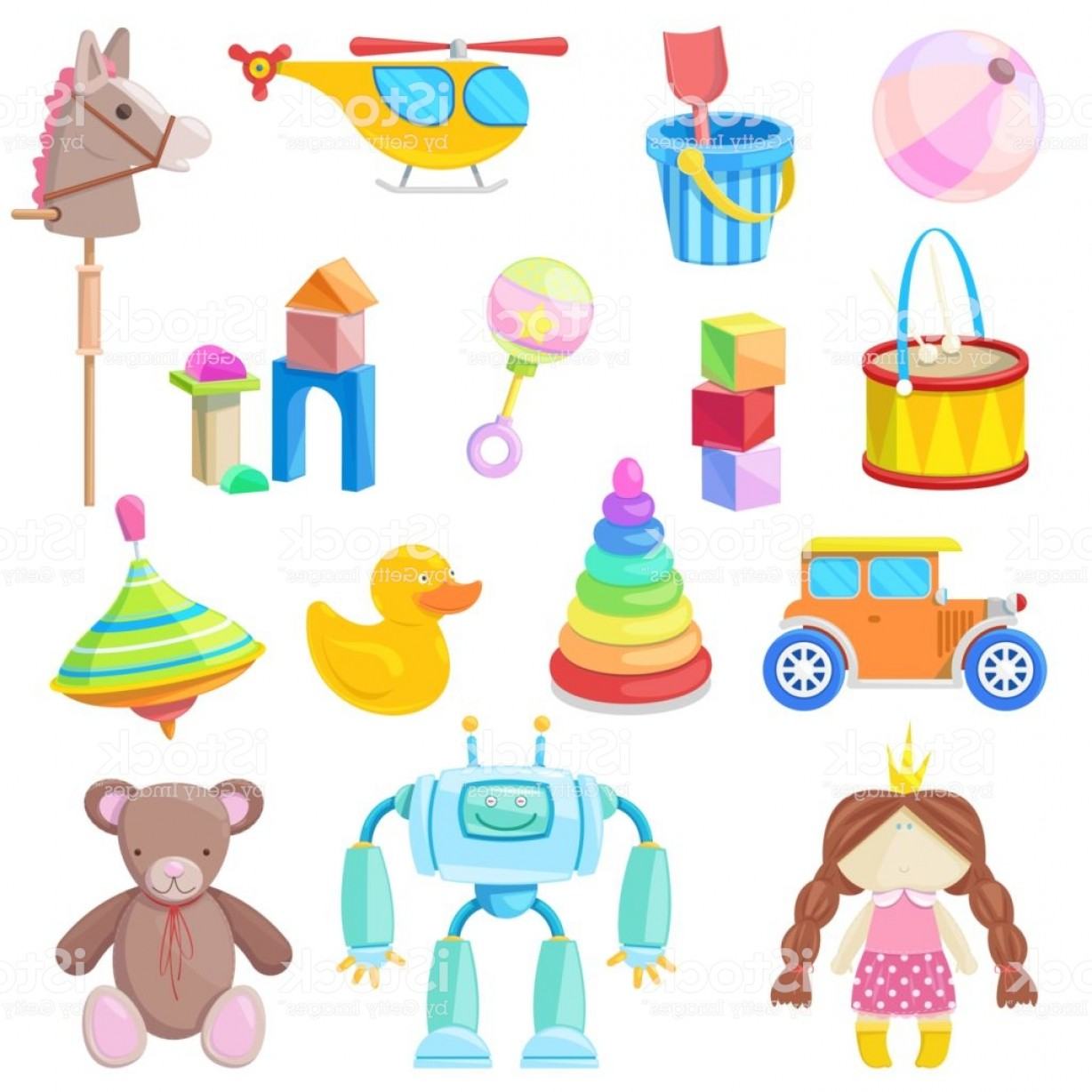 Baby Toy Vector: Kids Toys Vector Icons Set Color Toy For Baby Boy And Girl Cartoon Illustration Gm