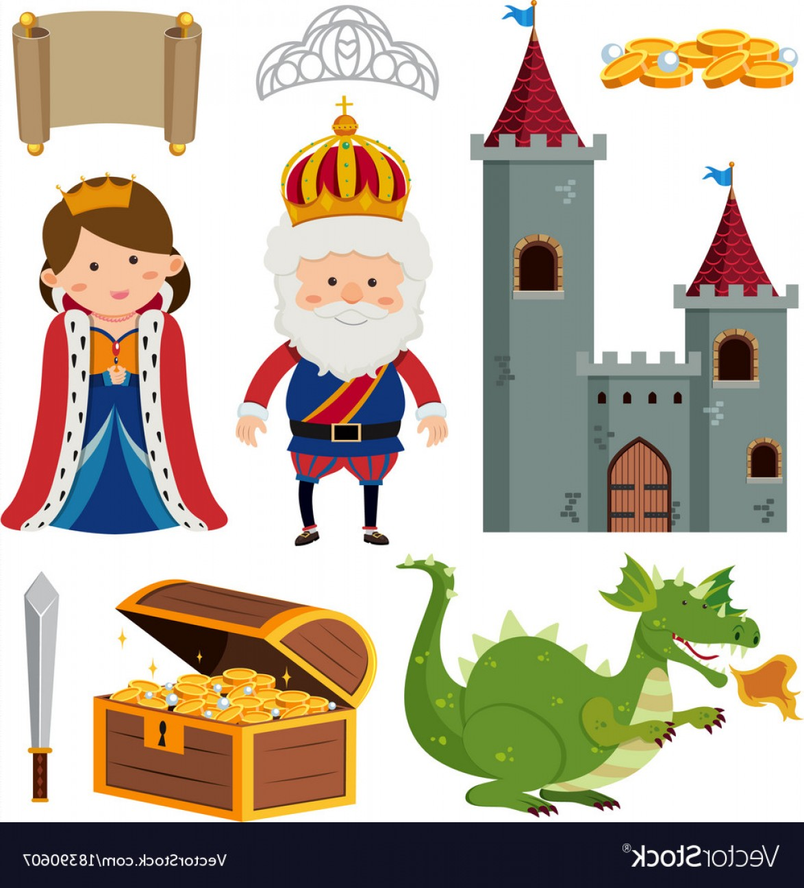 King And Queen Vector: King And Queen At The Castle Vector