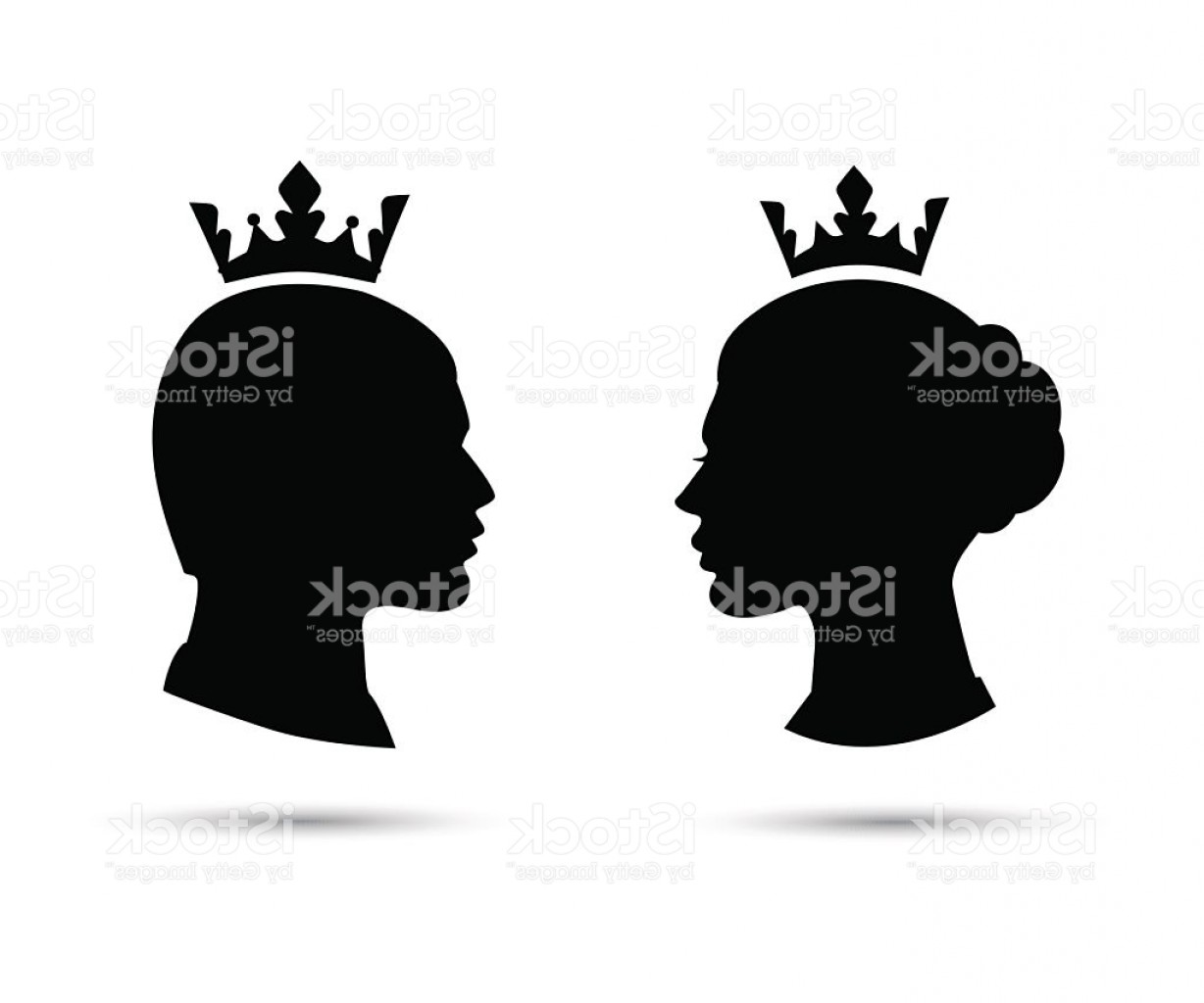King And Queen Vector: King And Queen Heads Vector Silhouette Gm