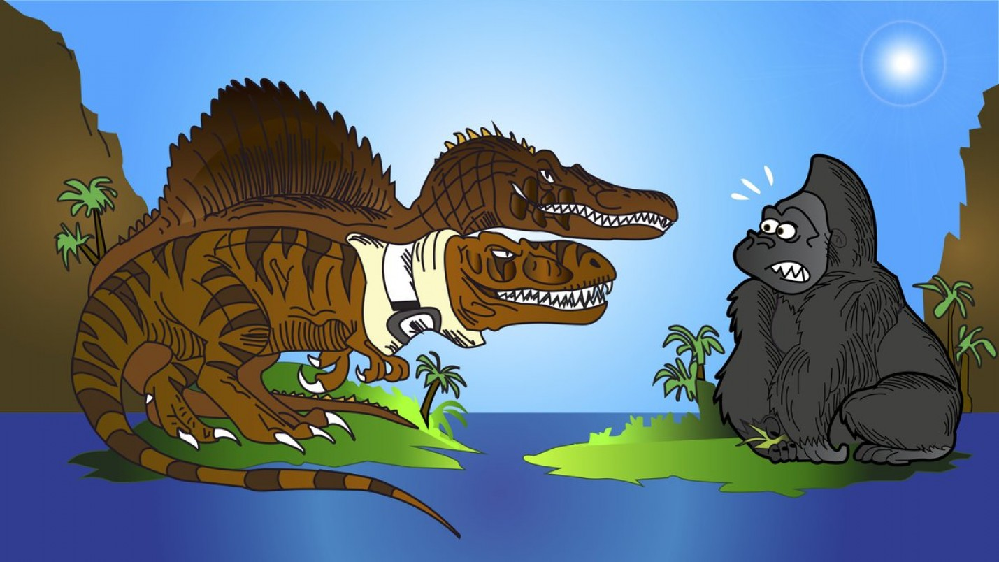 Drawings Of King Kong Vector: King Kong Vs T Rex And Spino By Hodarinundu Jpg