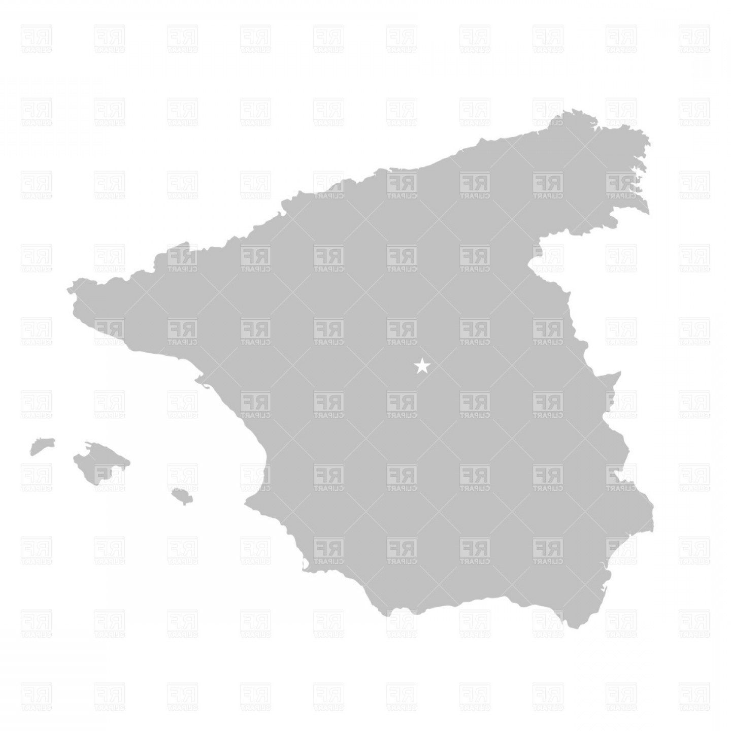 Spain Outline Vector: Kingdom Of Spain Map Outline Vector Clipart