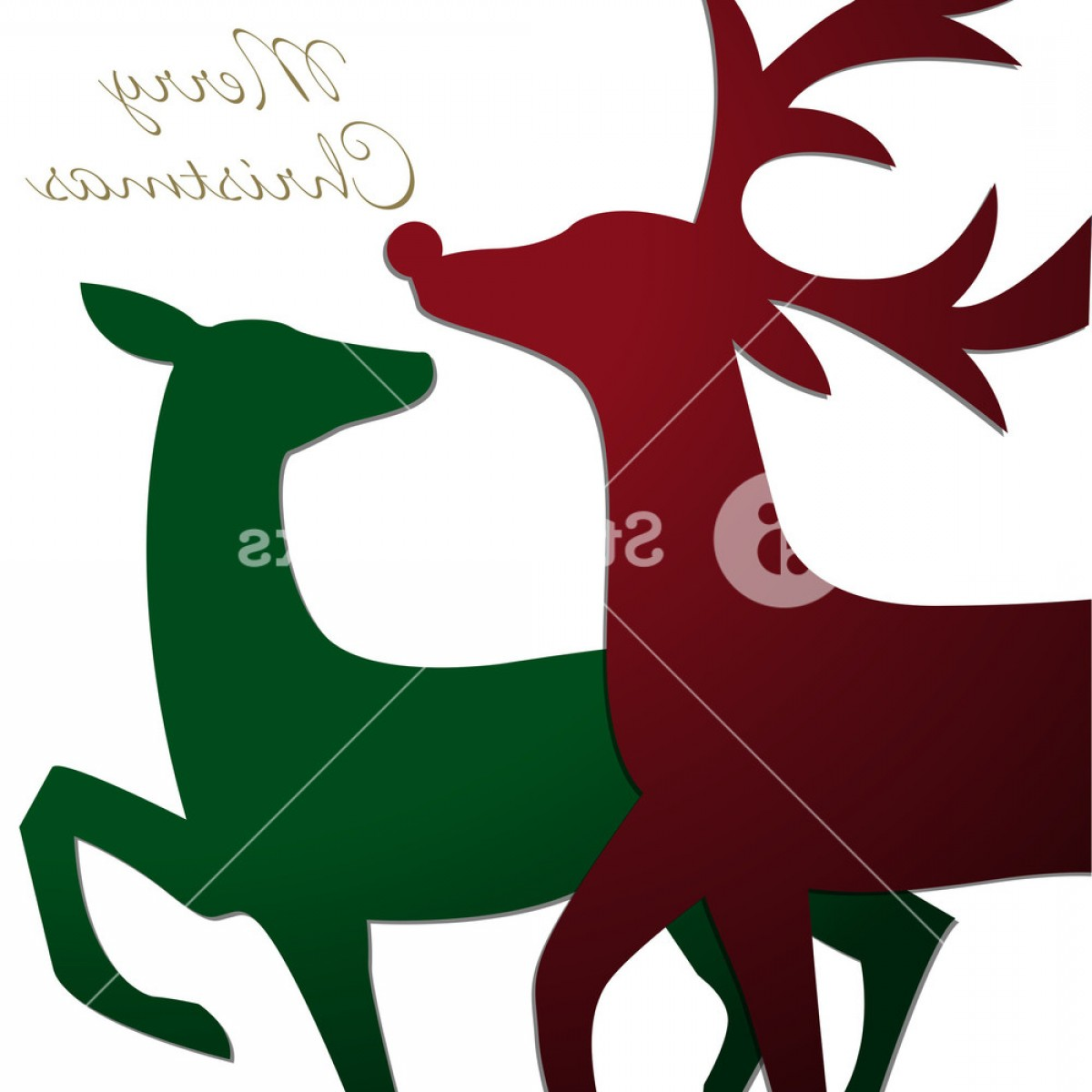 Kissing Reindeer Silhouette Vector: Kissing Reindeer Christmas Card In Vector Format Bqxvzd Jgqjt