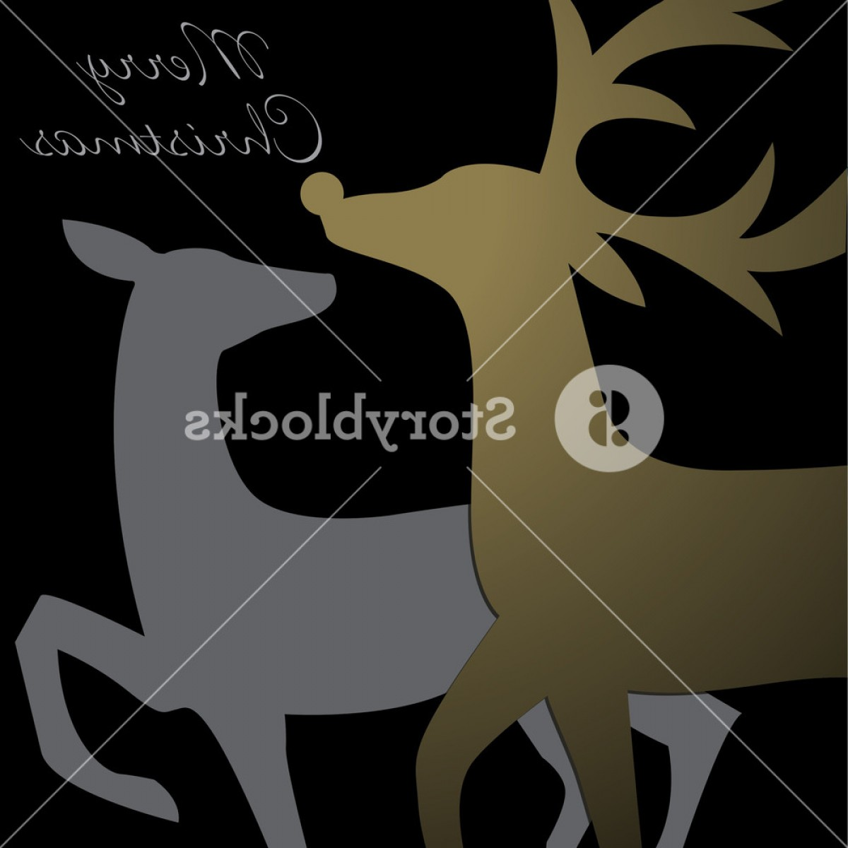 Kissing Reindeer Silhouette Vector: Kissing Reindeer Christmas Card In Vector Format Hlumuqubjgqdr